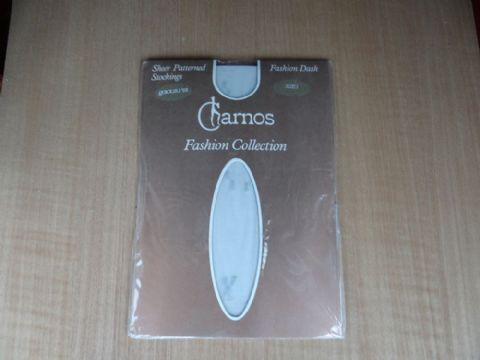 "VINTAGE CHARNOS FASHION COLLECTION ""FASHION DASH""  SHEER PATTERNED STOCKINGS SIZES 1 & 2"